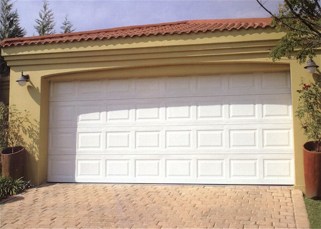 Double Chromadek sectional door with motor and battery back up : doors durban - pezcame.com