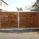 Lattice Wooden Sliding Gate With Steel Frame