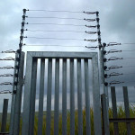Steel Pedestrian Gate And Palisade Fencing With Electric Fencing Installed