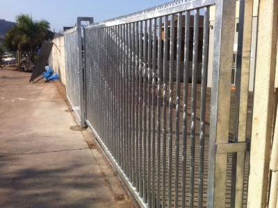 Industrial Steel Sliding Gate For A Factory Entrance