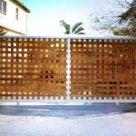 Stainless Steel Framed Wooden Sliding Gate Installation