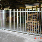 Steel Palisade Sliding Gate For A Warehouse Entrance