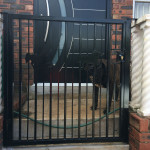 Steel Pedestrian Swing Gate Painted Black