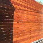 Wooden Sliding Gate With Steel Frame And Horizontal Slats