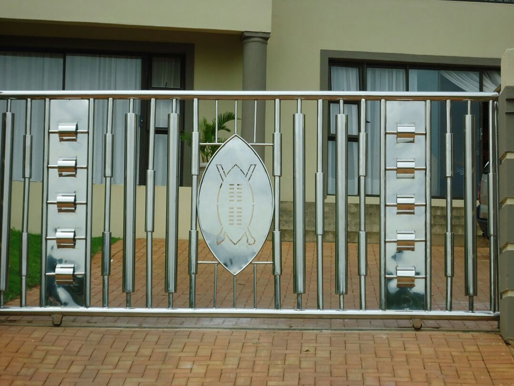 Stainless Steel Sliding Gate Installation With Unique Design
