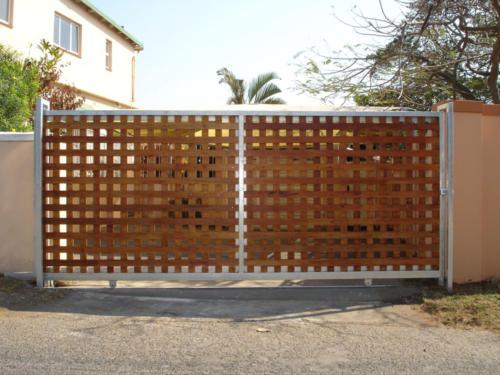 Steel Framed Wooden Sliding Gate Installation
